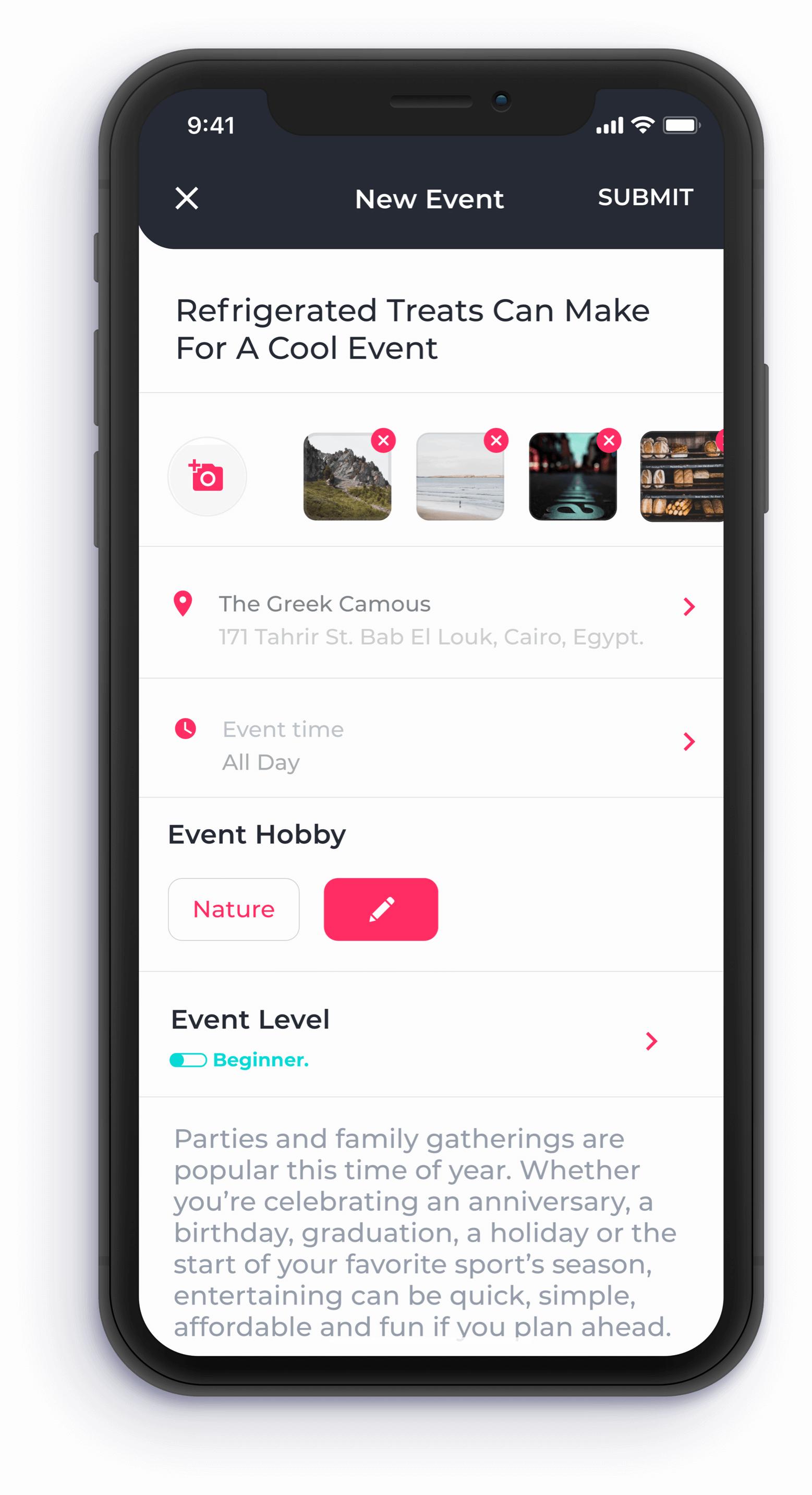 Create event feature for hauui app