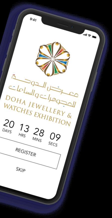 doha jewellery watches exhibition splash screen