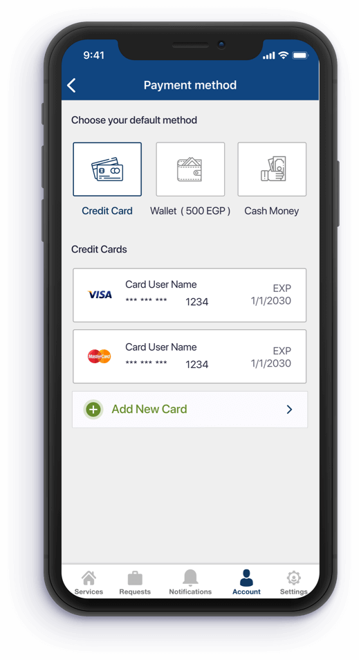 payment method feature app for Doc on call